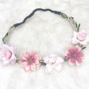 Boho Flower Crown/ Headband (new) pink